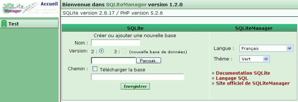 SQLiteManager page d'accueil